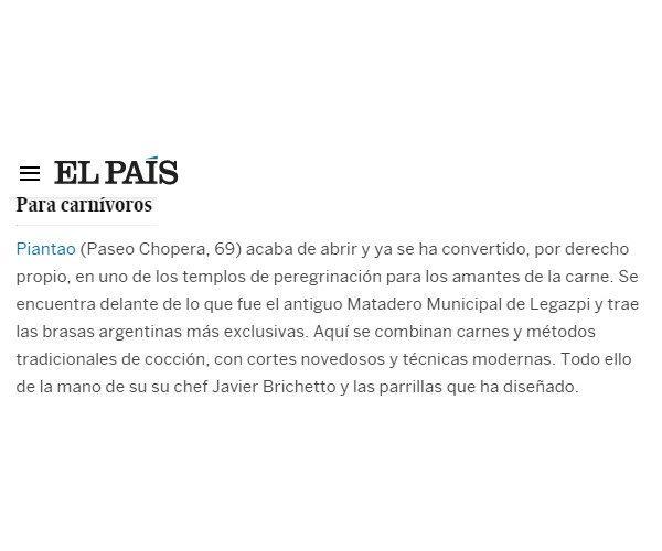 Restaurante Piantao Madrid del Chef Argentino Javier Brichetto en El País