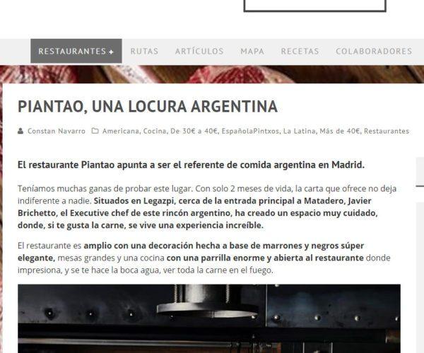 Restaurante Piantao Madrid del Chef Argentino Javier Brichetto en Entre Pintxos