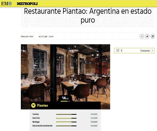 Restaurante Piantao Madrid del Chef Argentino Javier Brichetto en Metropoli El Mundo
