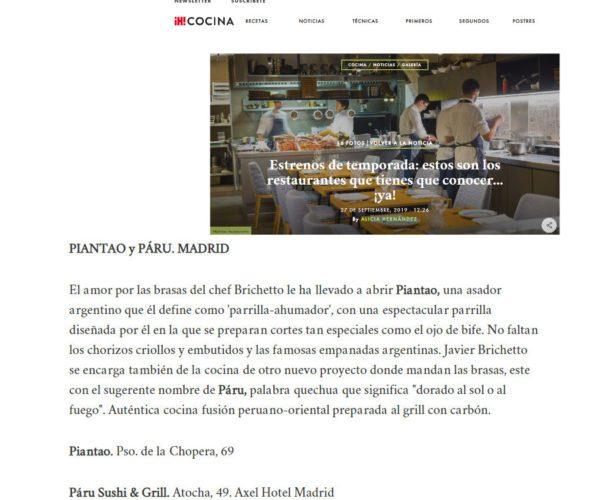 Restaurante Piantao Madrid del Chef Argentino Javier Brichetto en Revista Hola