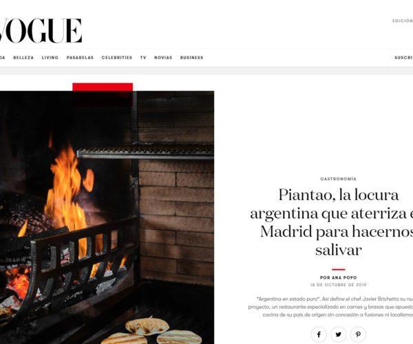 Restaurante Piantao Madrid del Chef Argentino Javier Brichetto en Revista Vogue